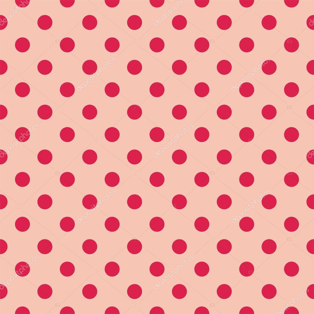 puntos rojos, patrón de vector retro inconsútil de fondo rosa bebé ...