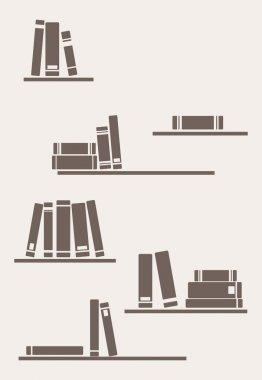 Vector simply retro illustration: books on the shelves