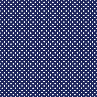 Vector seamless pattern with white polka dots on retro navy blue background