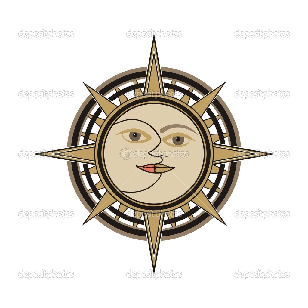 Sun and moon vector sign isolated on white backround