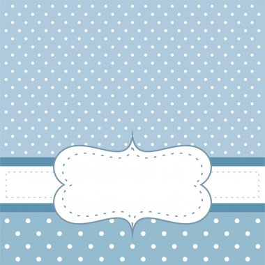 Sweet, blue polka dots vector birthday party card or wedding invitation