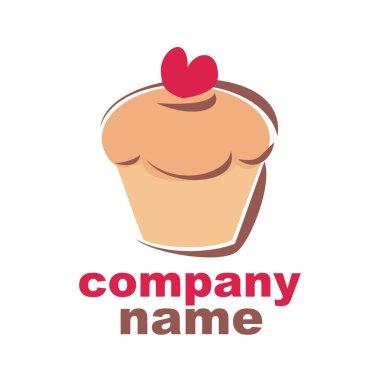 Sweet retro vector cupcake bakery logoisolated on white background