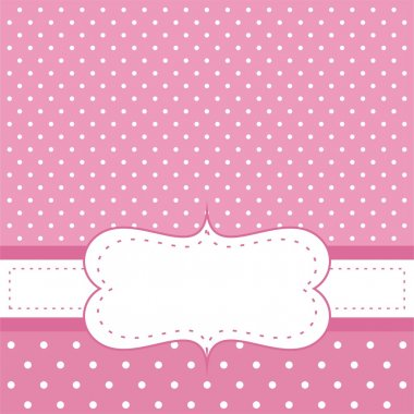 Sweet, baby pink polka dots vector card or invitation