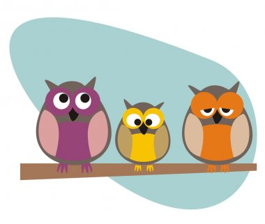 Funny, staring owls family sitting on branch on a sunny day illustration isolated on white background. Cute, cartoon symbol of wisdom. stock vector