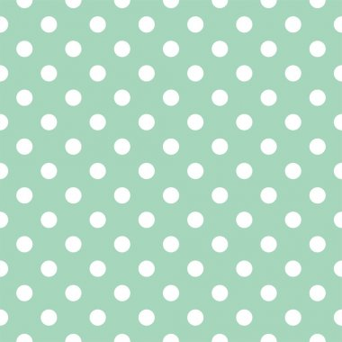 Polka dots on mint green background retro seamless vector pattern