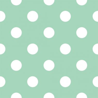 Retro seamless vector pattern with polka dots on mint green background