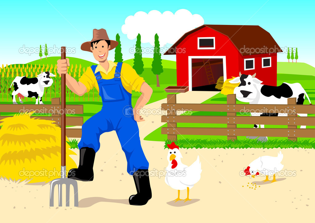 Farmer in Cartoon — Stock Vector © rudall30 #9917497
