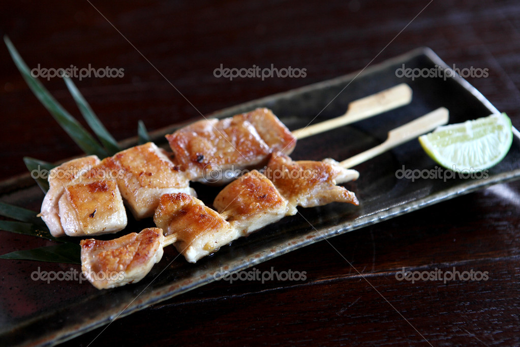 Japanese food chicken Yakitori grilled incloseup