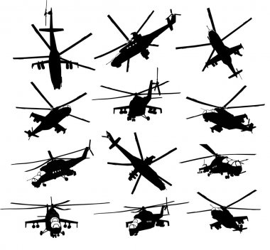 Helicopter silhouettes set