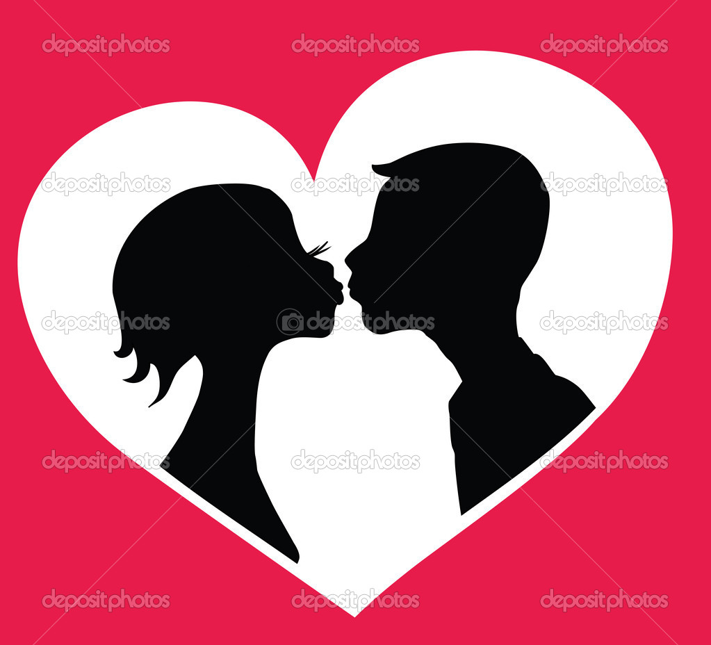 Kissing boy and girl silhouettes in heart shape background. Vector eps8 clipart vector