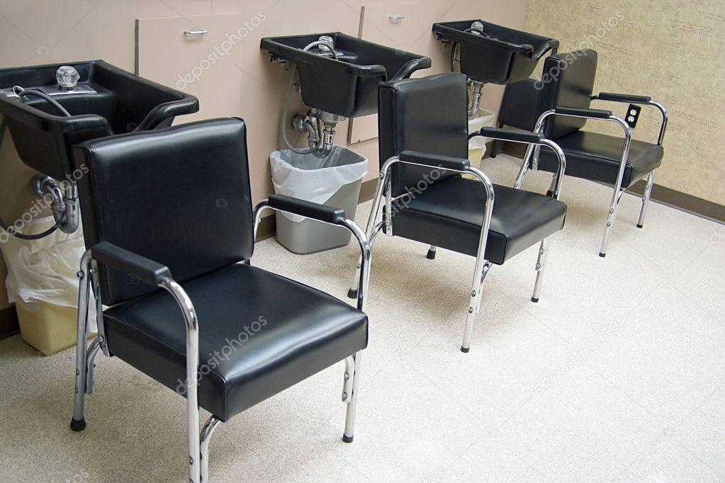 Hair Salon   A Row Of Hair Washing Sinks And Chairs. U2014 Photo By  ArenaCreative