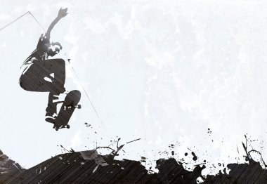 A grungy skateboarding layout with plenty of negative space for your text. stock vector