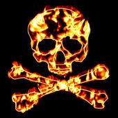 ardente teschio e ossa incrociate