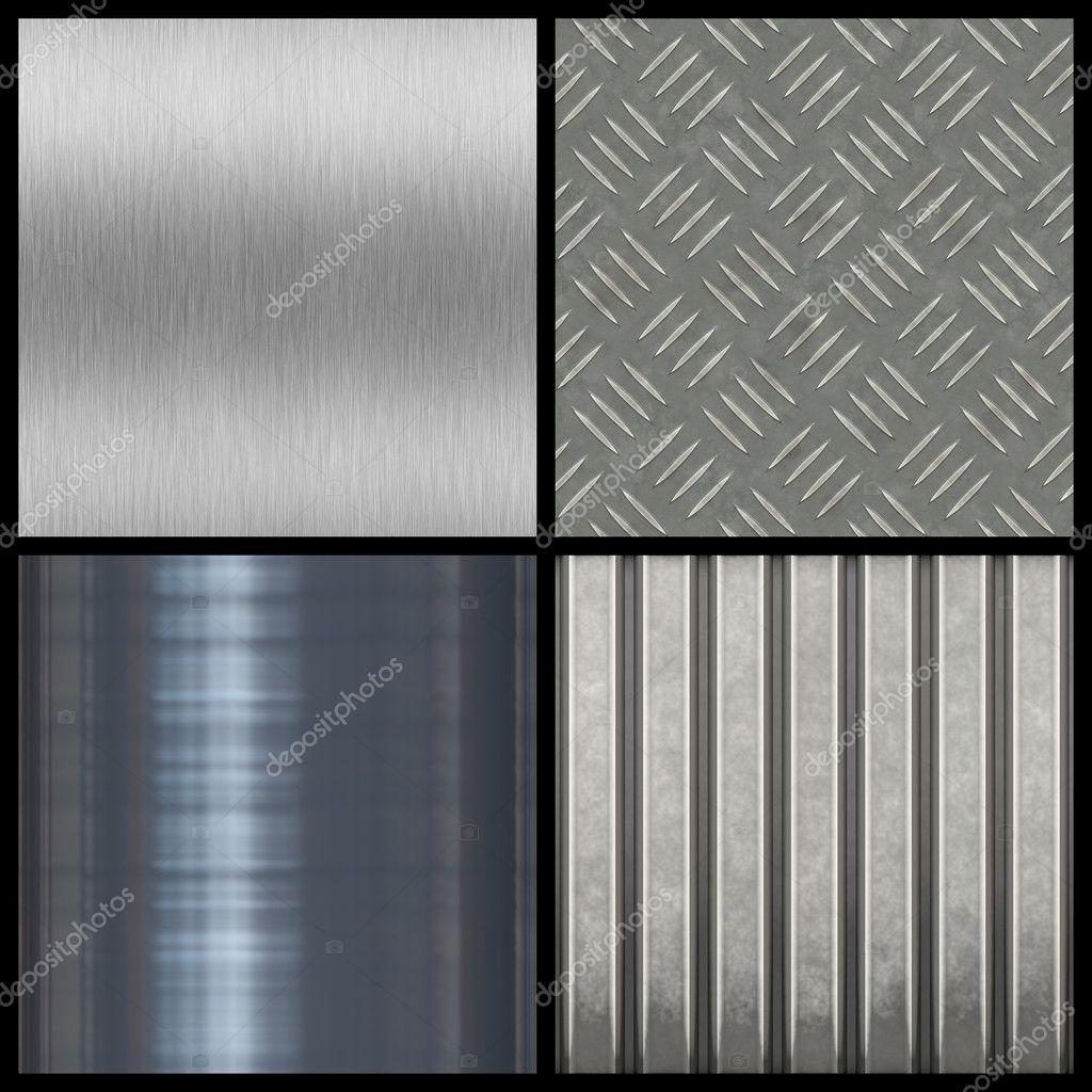 Eine Sammlung Von Modernen Metall Texturen   Fliese Die Meisten Nahtlos Als  Muster In Eine Beliebige Richtung. Größere Versionen Der Einzelnen Stehen  Auch ...