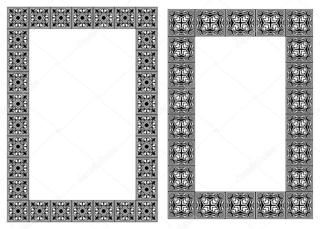 conjunto de marcos verticales de vector de estilo art nouveau ...