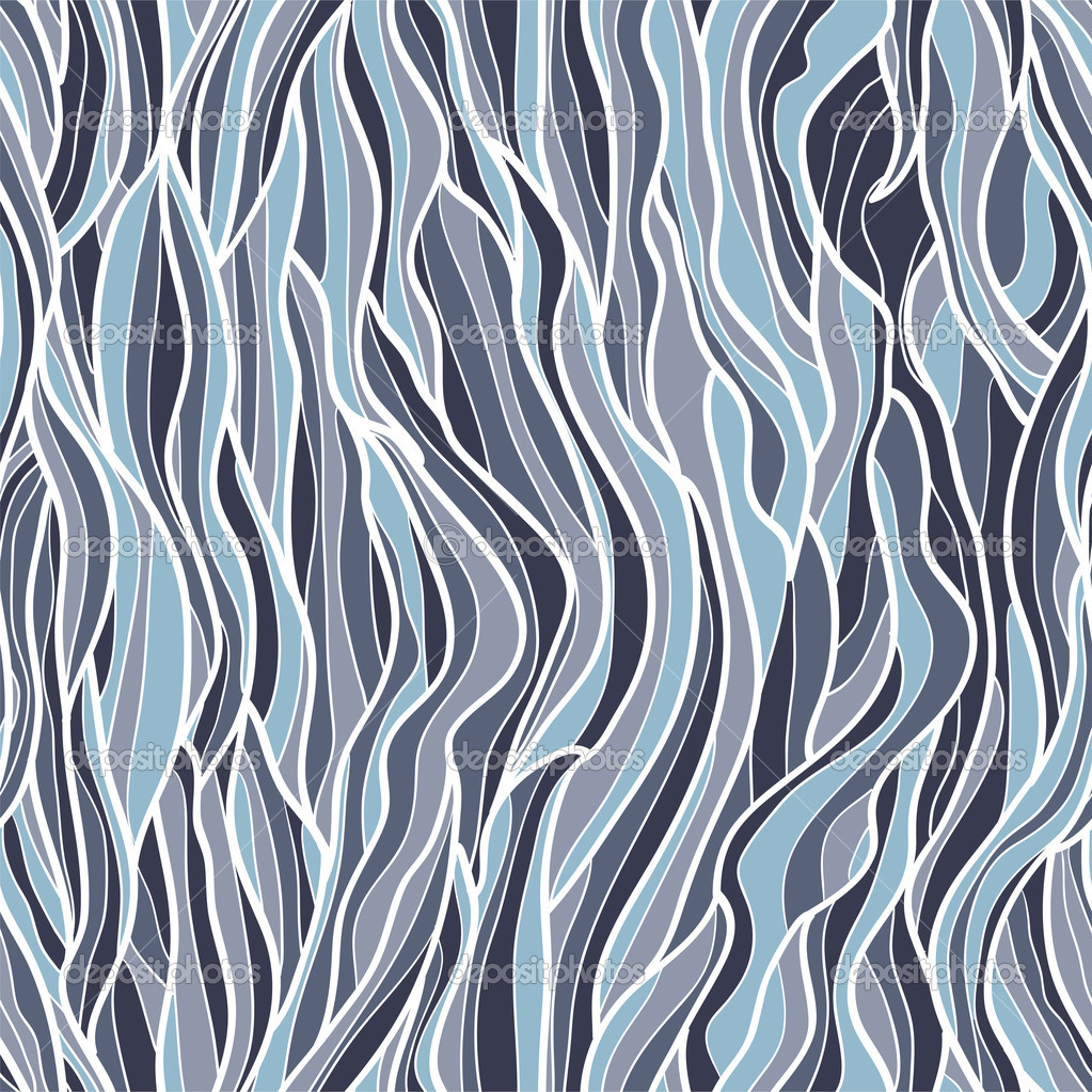 Seamless waves hand-drawn pattern