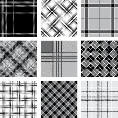 Black and white plaid patterns set