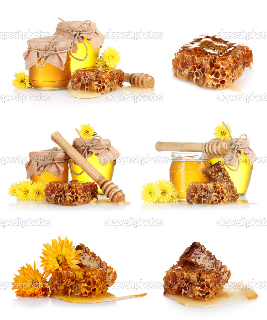 A collage of some compositions jars of honey and the honeycomb isolated on white