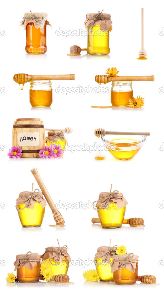 Collage of a few jars of honey and flowers isolated on white background