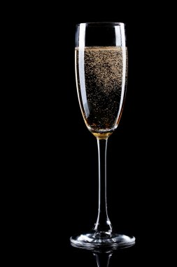Glass of champagne on black background