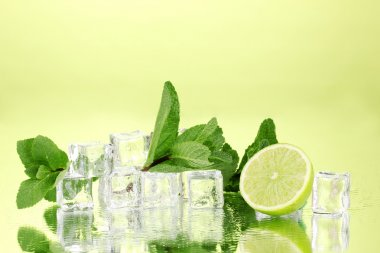 Fresh mint leaf and ice cubes with droplets and lime on green background