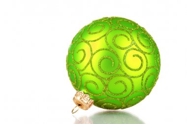 Beautiful green Christmas ball isolated on white