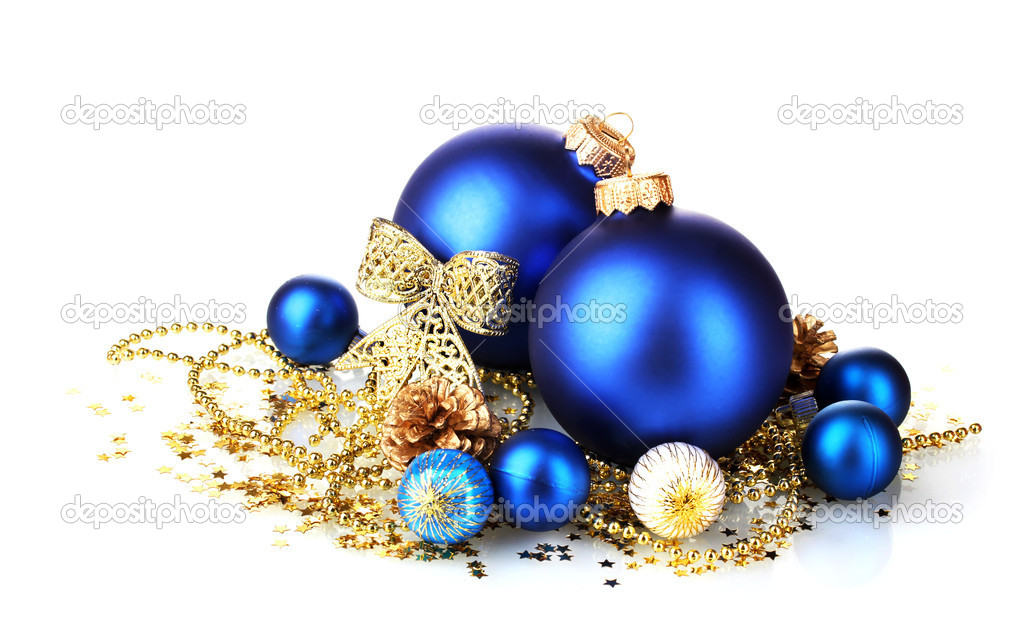 Beautiful blue Christmas balls and cones isolated on white