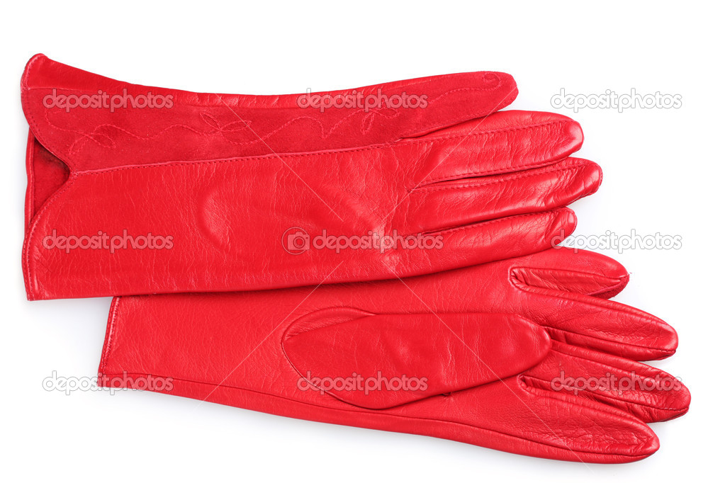 3cafc36fa8 Όμορφη κόκκινη Δερμάτινη γυναικεία γάντια απομονωθεί σε λευκό — Φωτογραφία  Αρχείου