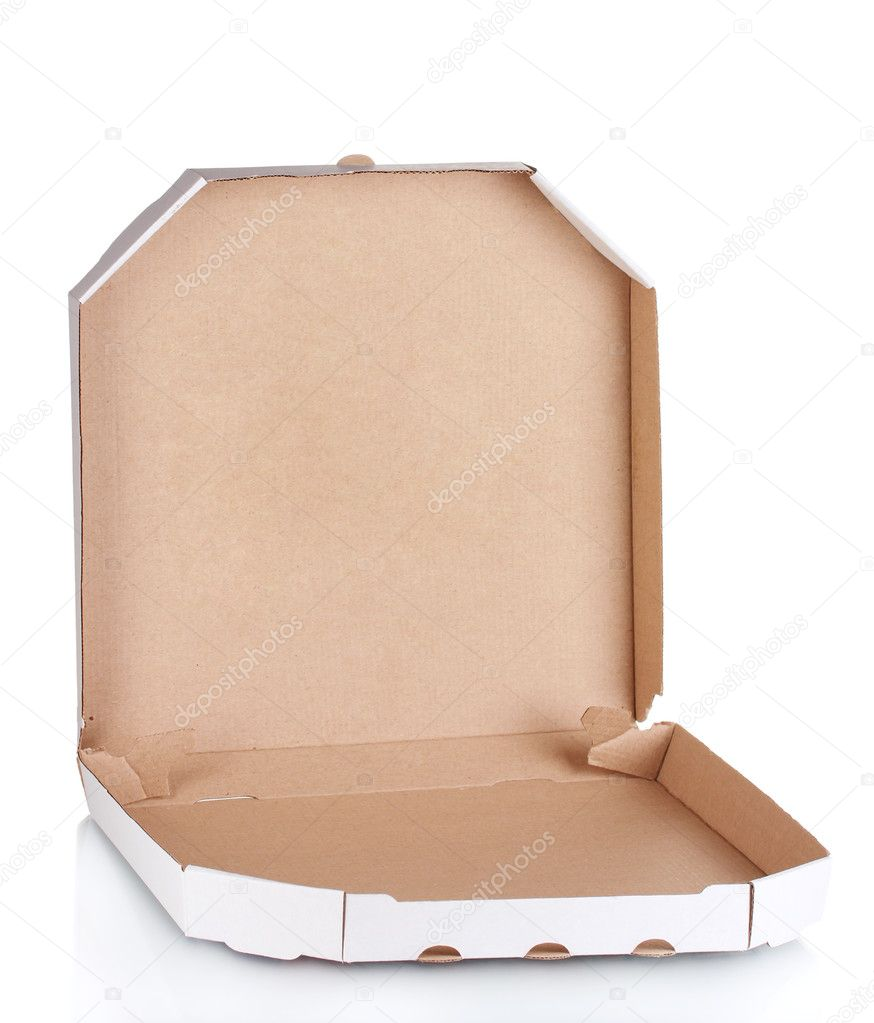Empty pizza box isolated on white background. — Stock Photo ...