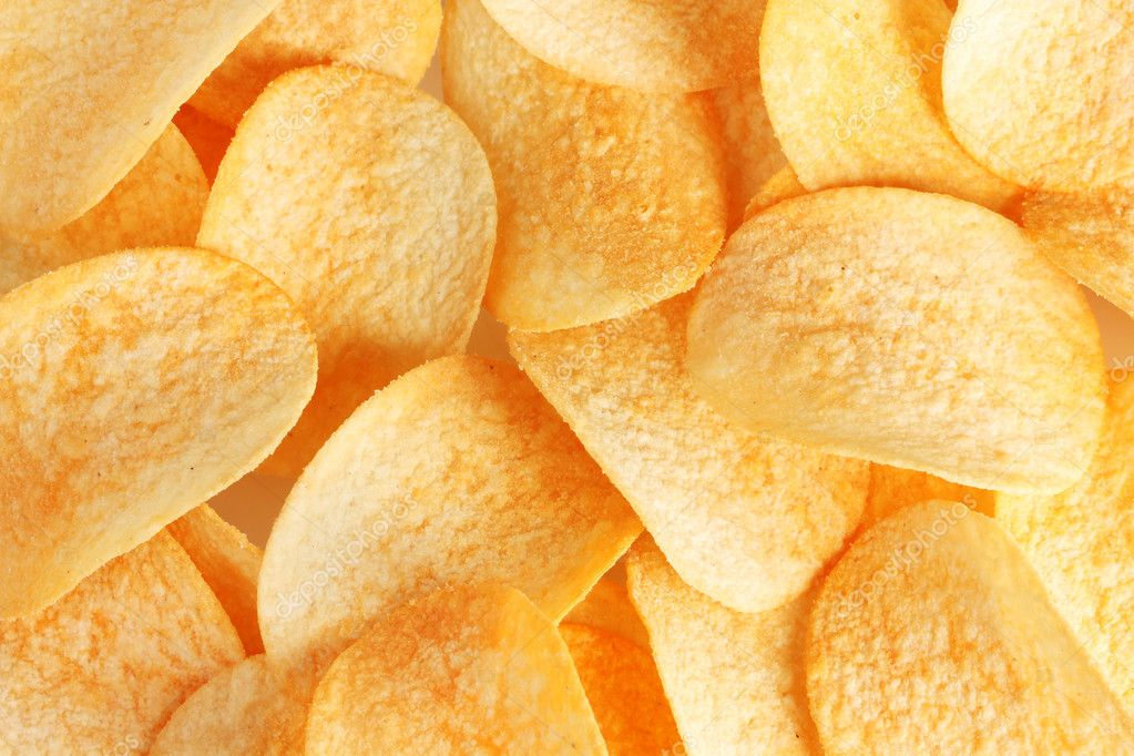 Delicious potato chips closeup