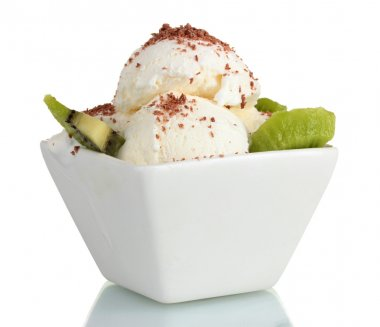 Delicious vanilla ice cream with chocolate and kiwi in bowl isolated on whi