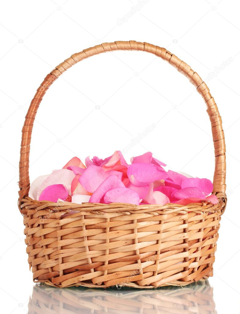 Beautiful pink rose petals in basket isolated on white stock photo beautiful pink rose petals in basket isolated on white photo by belchonock mightylinksfo