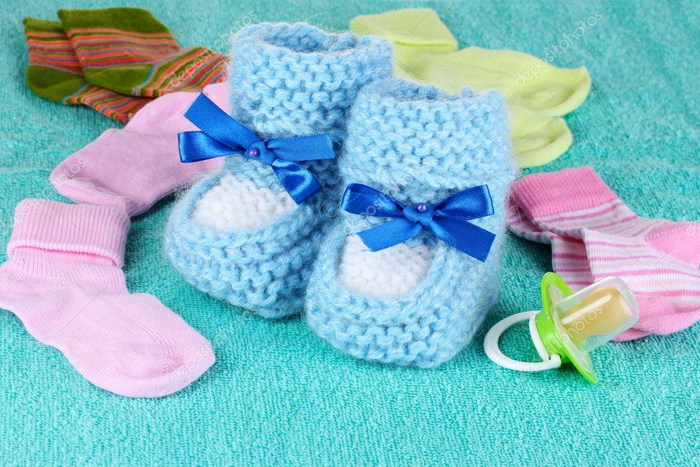 c4bb1255f572 Blue baby booties