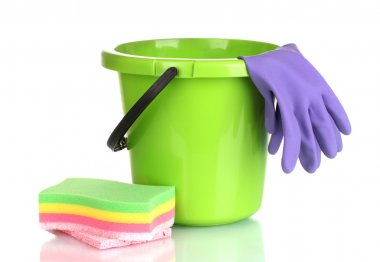 Bucket, gloves and sponge for cleaning isolated on white