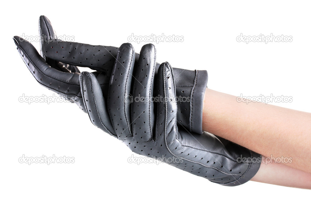 40ae3a4be Womens hands in grey leather gloves isolated on white — Stock Photo ...