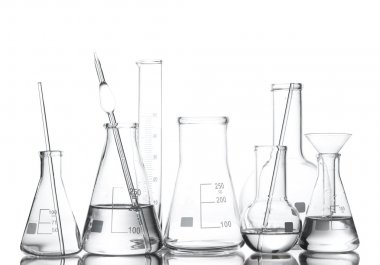 Different laboratory glassware with water and empty with reflection isolate