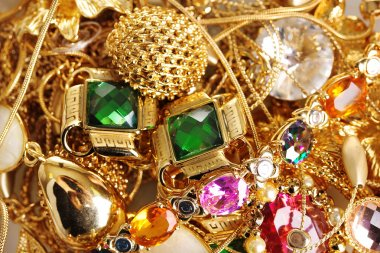 Various gold jewellery closeup