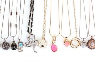Many pendants isolated on white