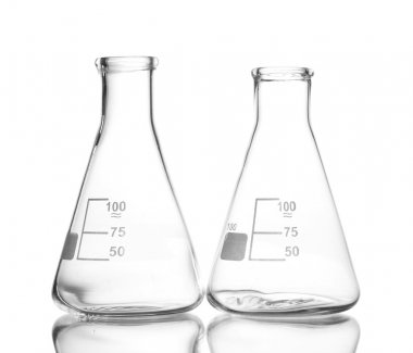 Two empty flasks with reflection isolated on white