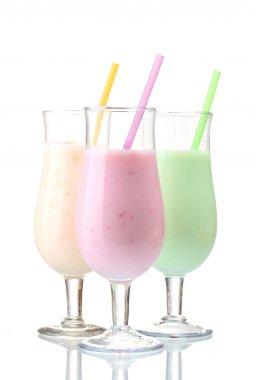 Milk shakes isolated on white