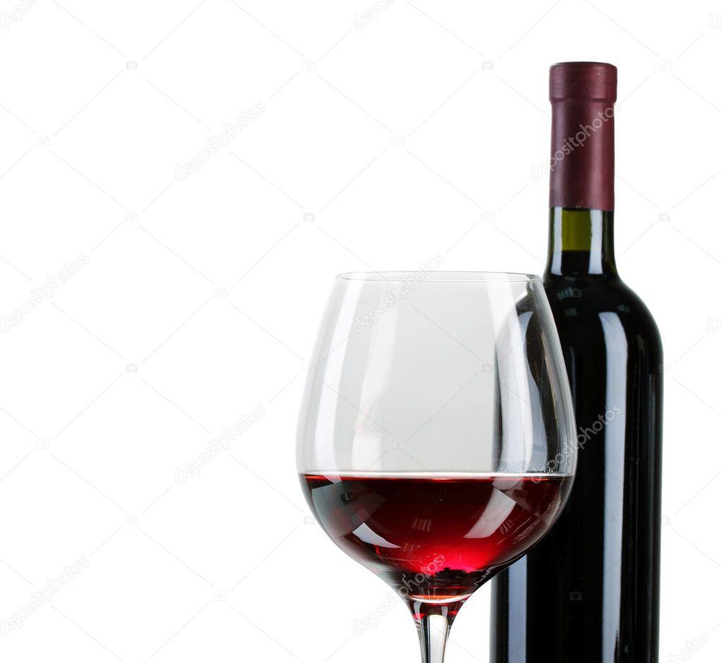 Butelka Wina Wielki I Lampka Na Białym Tle Zdjęcie Stockowe
