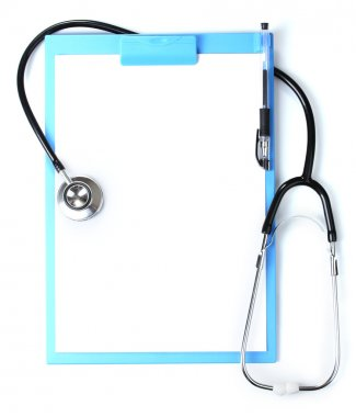 Stethoscope and blue clipboard isolated on white stock vector