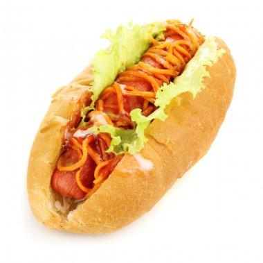 Appetizing hot dog isolated on white