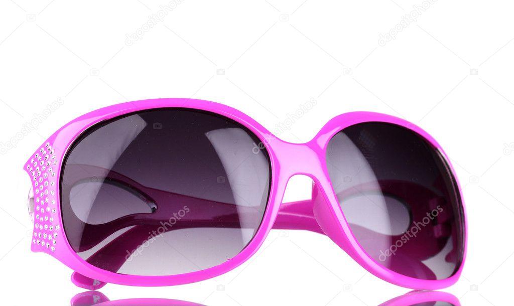 e53d86783c Ροζ γυαλιά ηλίου γυναικών με διαμάντια που απομονώνονται σε λευκό —  Φωτογραφία Αρχείου