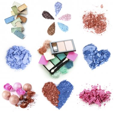 A collage of compositions of compact and crushed multicolor eyeshadow isolated on white
