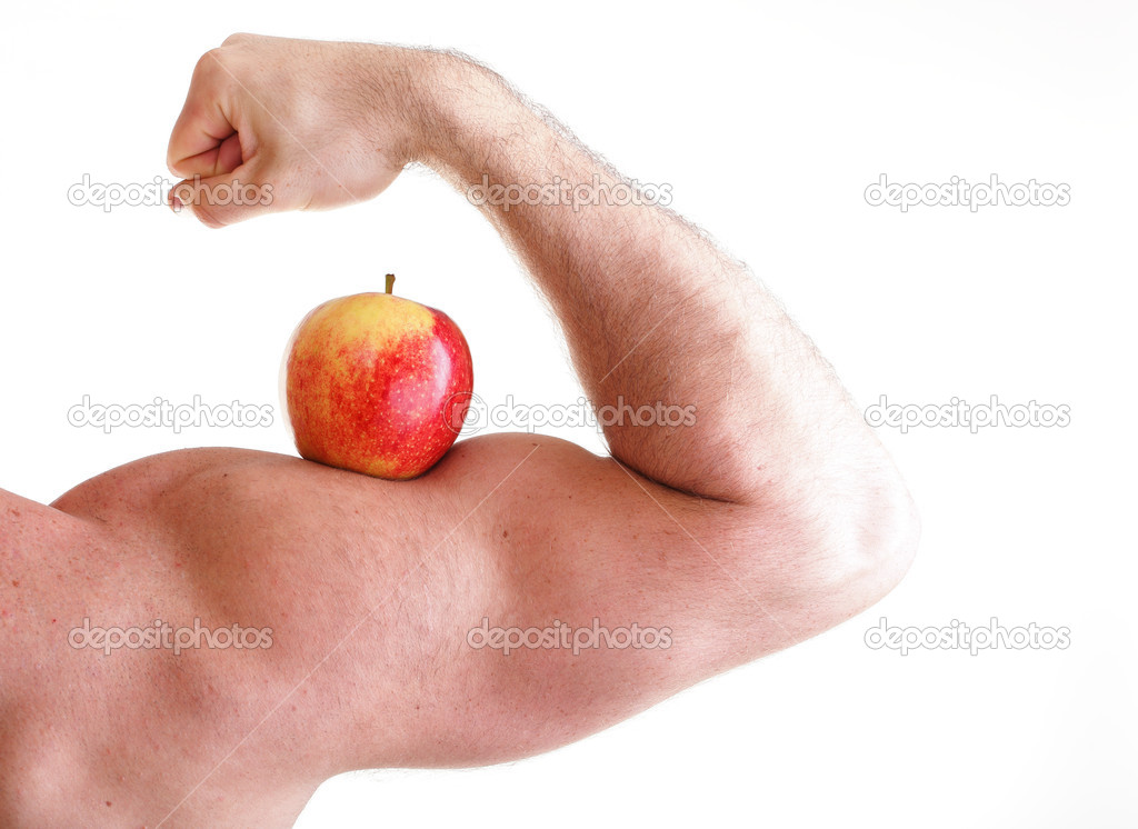 Red Apple On Mans Bicep Muscle Stock Photo Anetlanda 10128688
