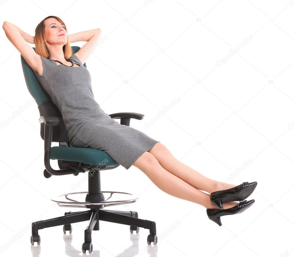 Sitting Chair: Full Length Business Woman Sitting On Chair Holding