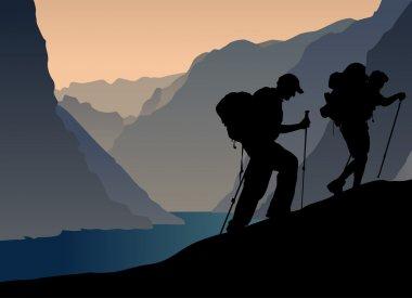 Climbers silhouette