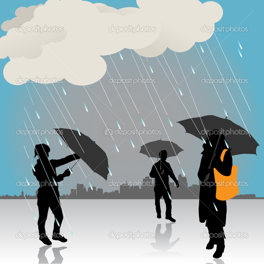 Peoples under the rain