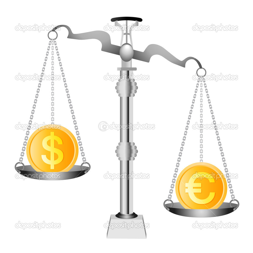Pound And Euro On Scales Stock Vector